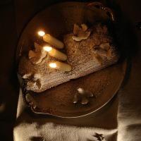 Gâteau blanc : une bûche de Noël shabby chic  | White cake: a shabby chic Christmas log cake