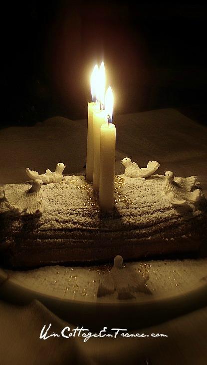 Christmas shabby chic log mocha cake