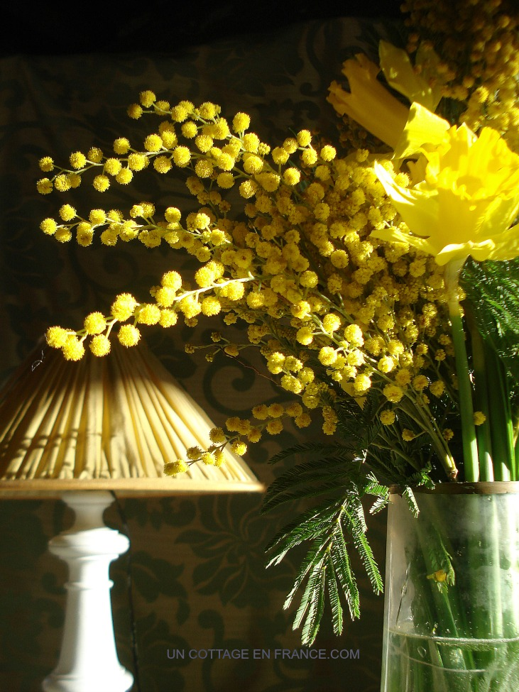 Bouquet fleurs jaunes cottage chic