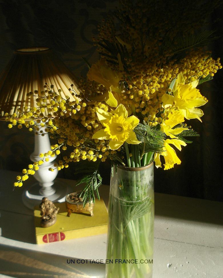 Bouquet fleurs jaunes cottage