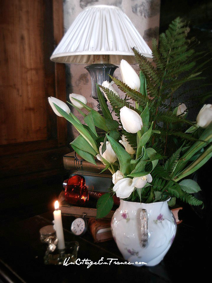 Cottage living in France white tulips