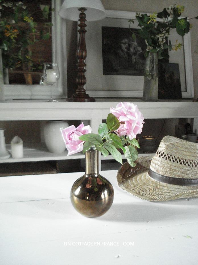 Bouquet de roses pales cottage campagne