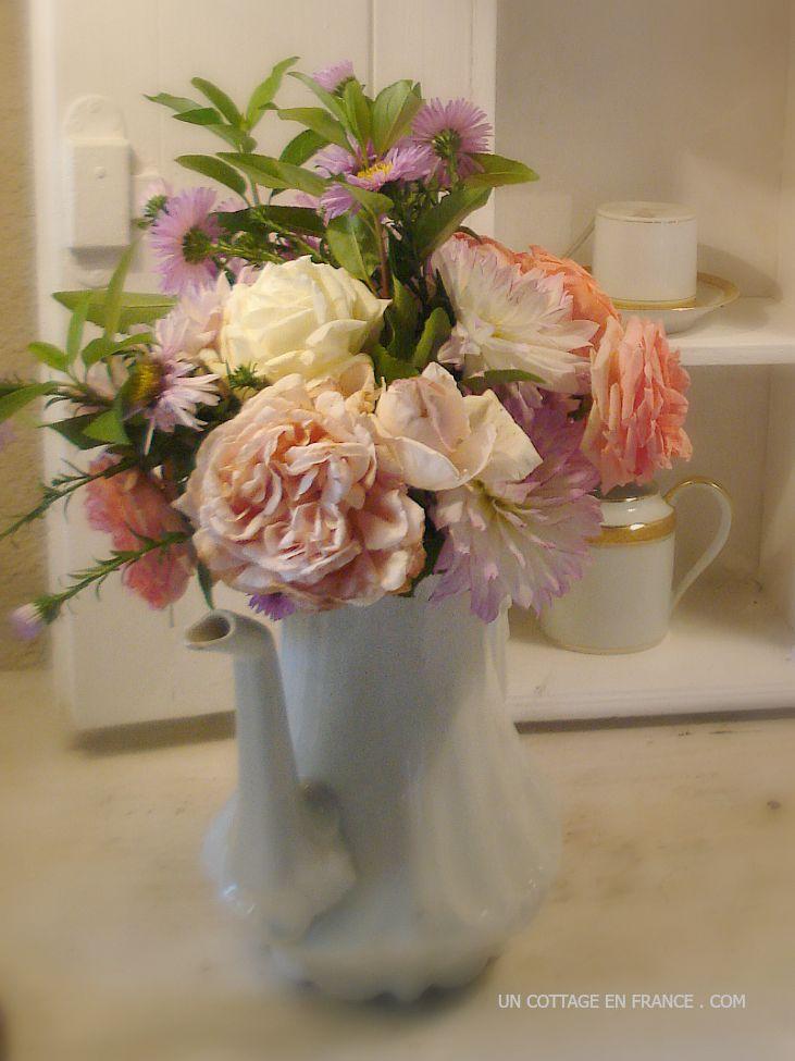 Le bouquet shabby chic sur le comptoir