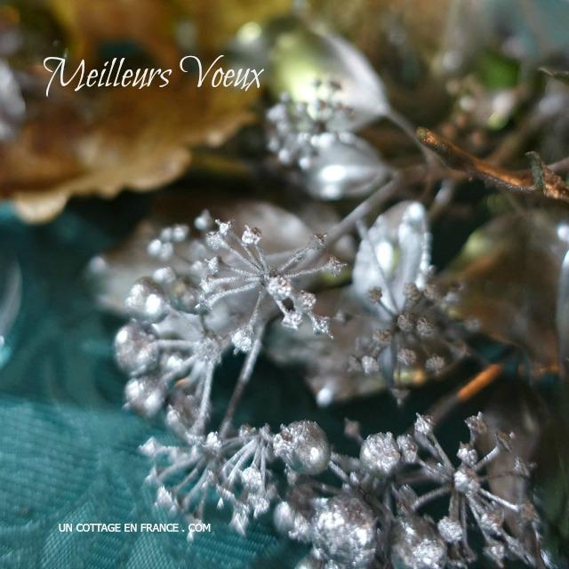Deco table nouvel an vert et bleu nature