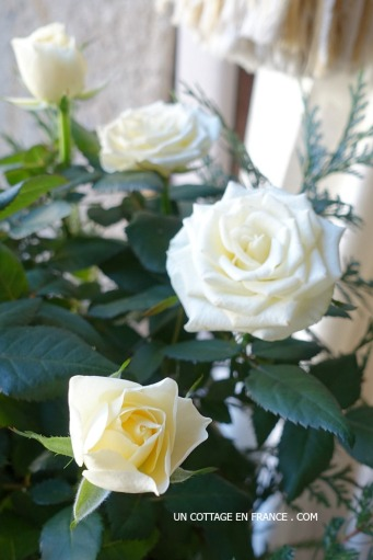 Une ambiance en BRUN, VERT et BLANC avec des roses blanches (A white, green and brown ambiance with white roses)