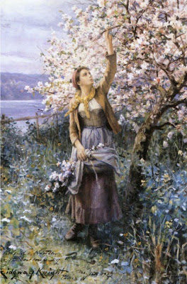 Daniel Ridgway Knight En cueillant les fleurs de printemps