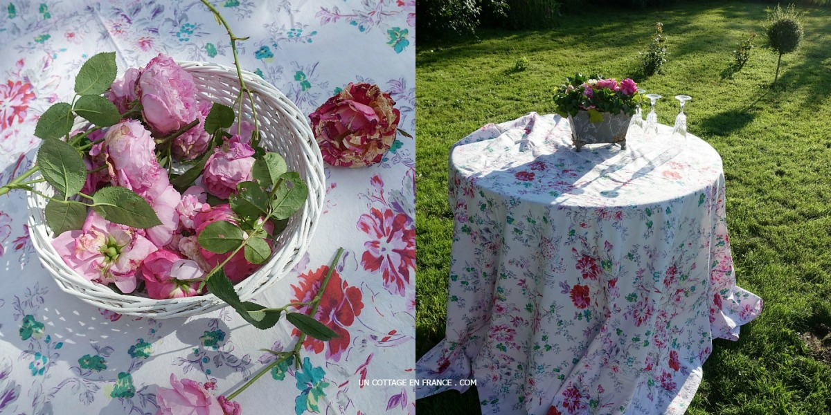 La JARDINIERE shabby chic pleine de roses (The shabby chic PLANTER full of roses)