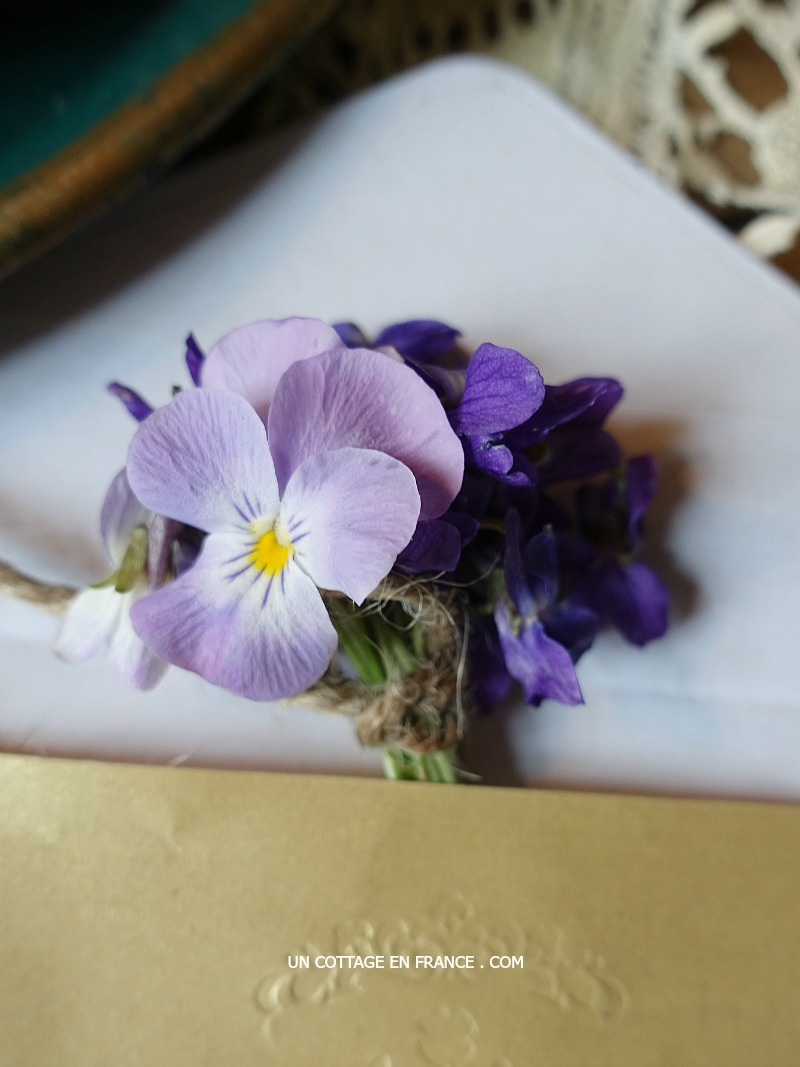 Ca se glisse dans une enveloppe un bouquet de violettes (A violet bouquet can be inserted and posted in an envelop)