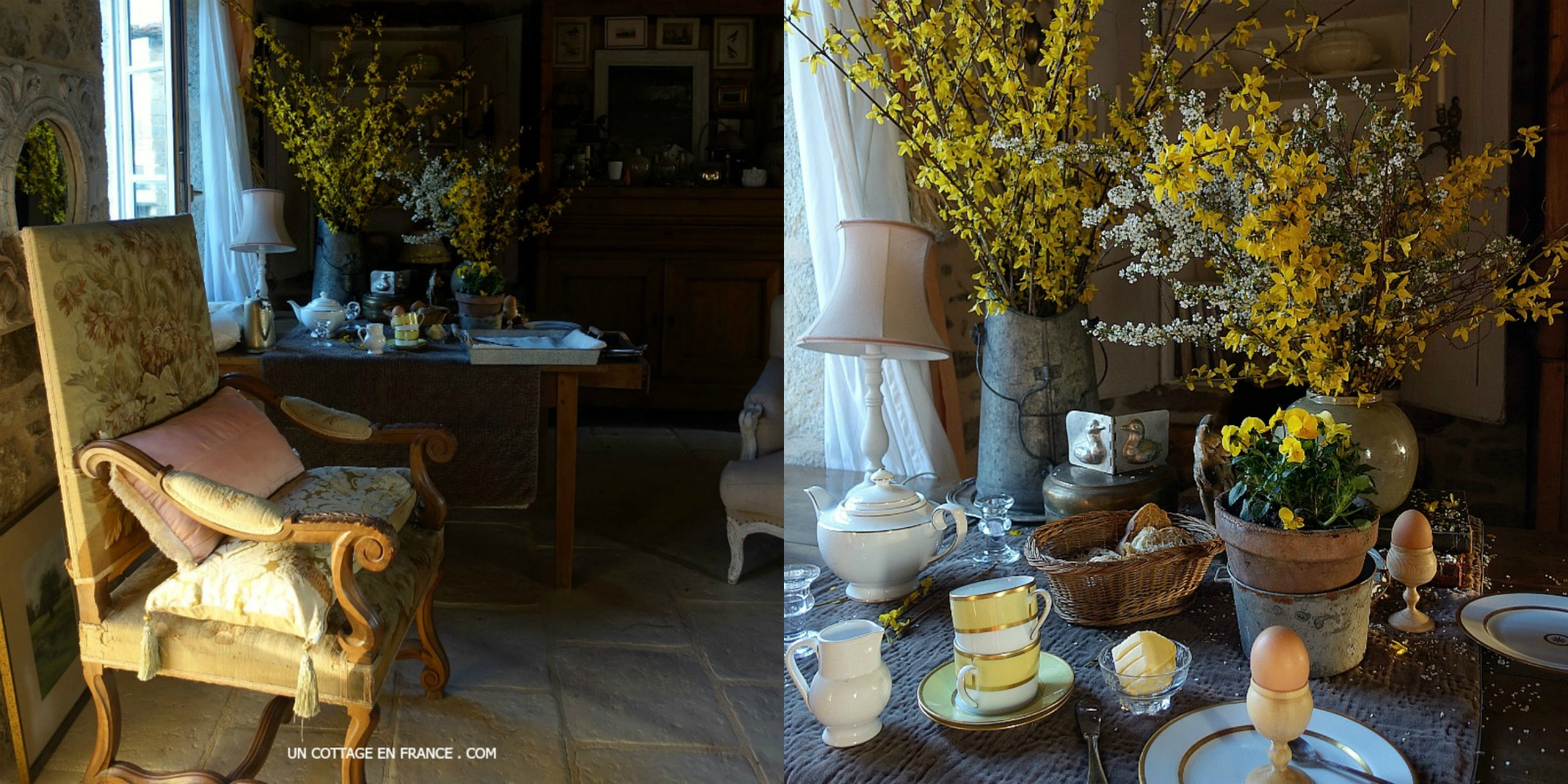 Ambiance de Pâques en jaune au petit déjeuner 5ester feel at the cottage)