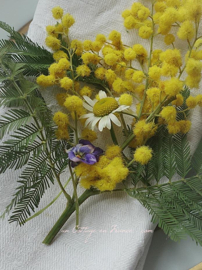 Mimosa en décoration de table, blog country chic 4