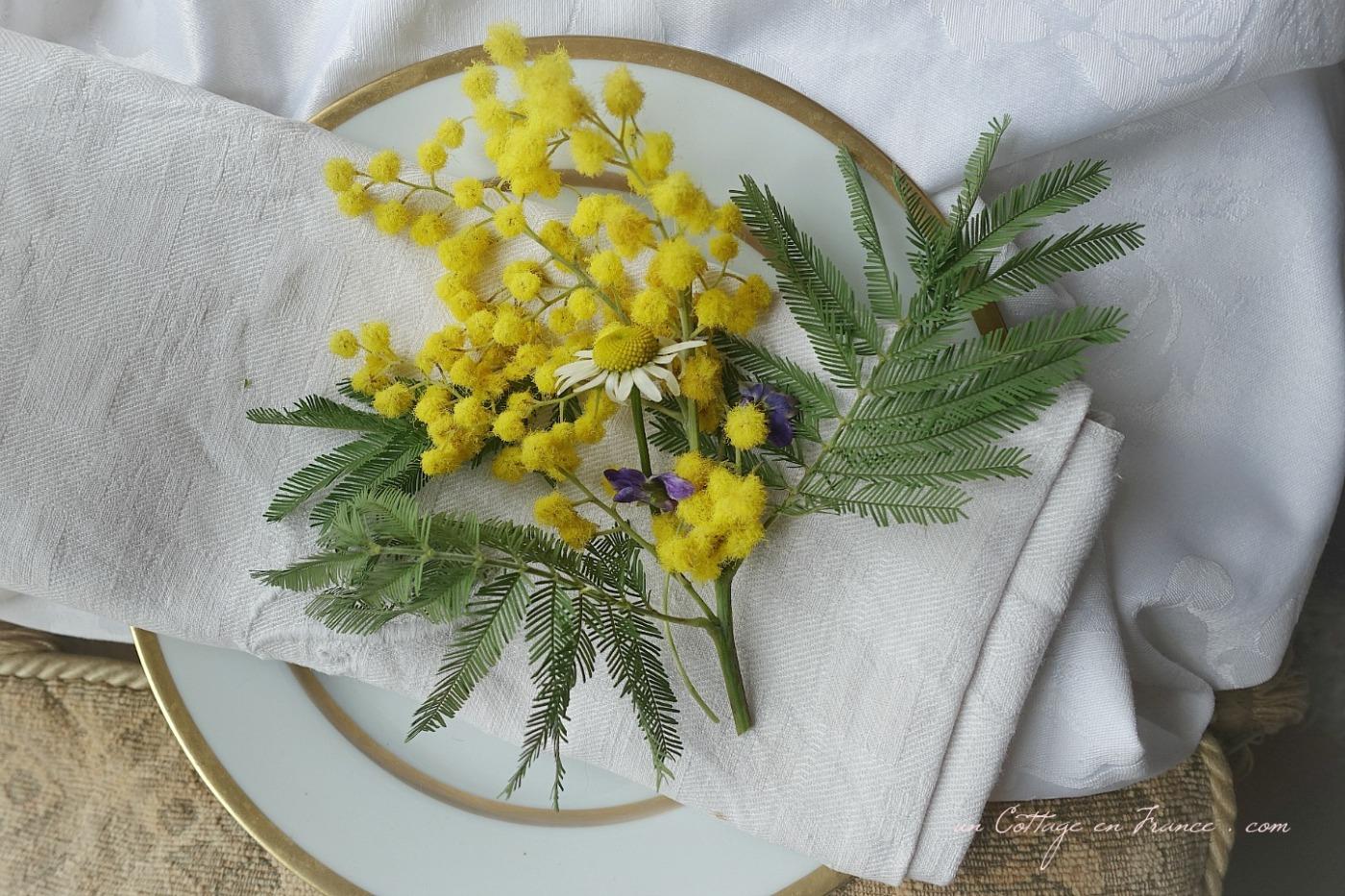 Mimosa en décoration de table, blog country chic