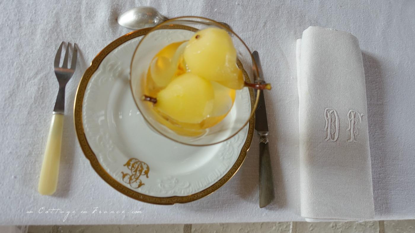 Poires au vin blanc blog décoration cottage 4