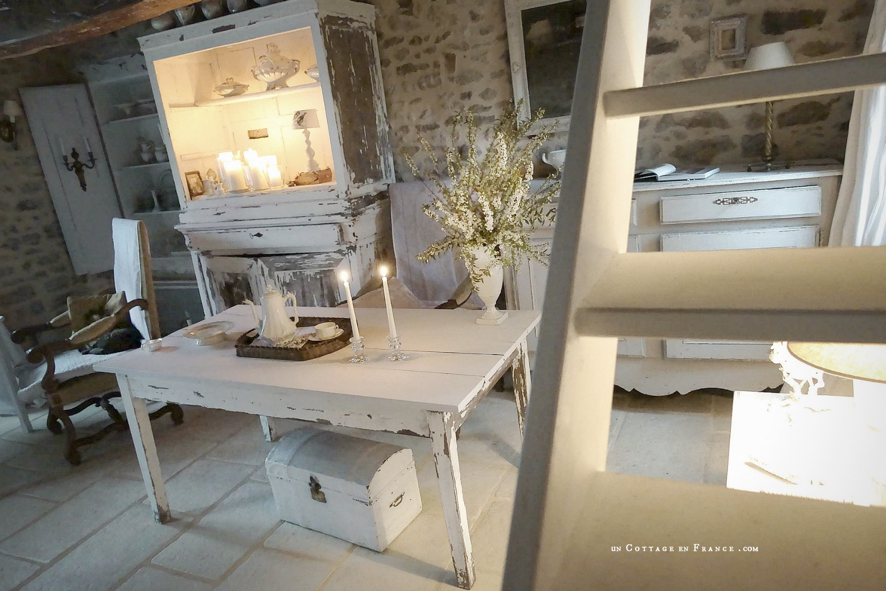 Cottage country blanc, White coutry interior, Un Cottage en France 6