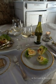 Déjeuner de Paques un Cottage en France Oeufs mimosas